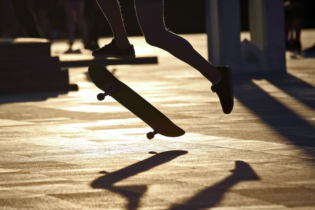 Het silhouet van je benen springen skate