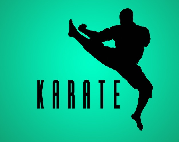 Het silhouet van man in kimono opleiding karate over groene achtergrond.