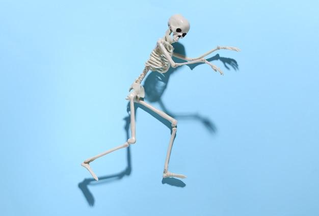 Het skelet sluipt tegen een helderblauw. halloween-concept