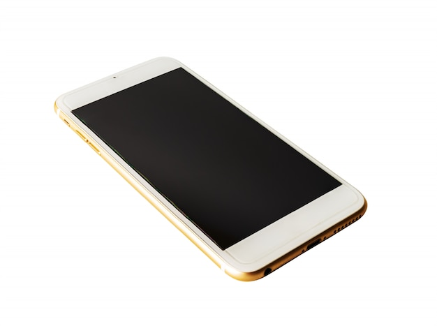Het slimme telefoon zwarte scherm dat op wit wordt geïsoleerd