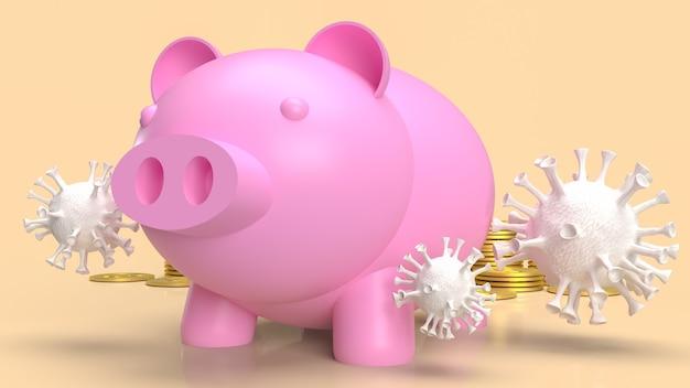 Het spaarvarken en het virus voor geld of zaken in het concept 3d-rendering van de coronaviruscrisis
