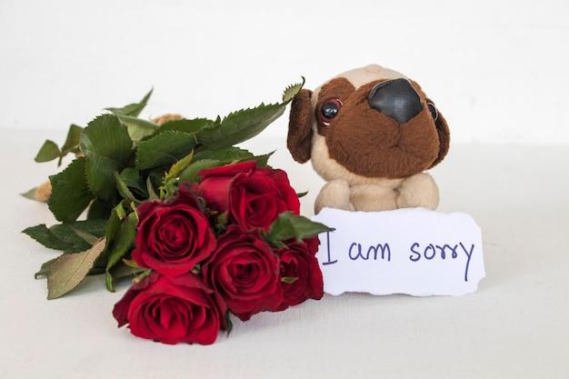 Het spijt me berichtkaart handschrift met hondenspeelgoed