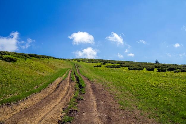 Het spoor van de vuilauto op groene grasrijke heuvel die tot bosrijke bergenrand leiden op de heldere blauwe ruimteachtergrond van het hemelexemplaar. toerisme en reizen concept.