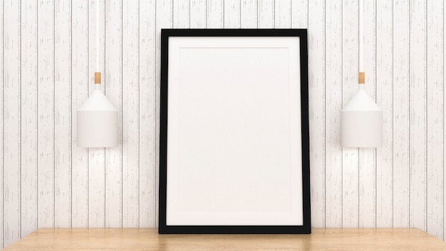 Het spot op affichekader met binnenlandse 3d achtergrond, geeft terug
