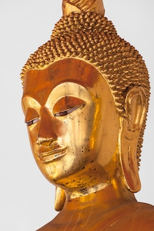 Het standbeeld hoofd dichte omhooggaand van boedha, thailand