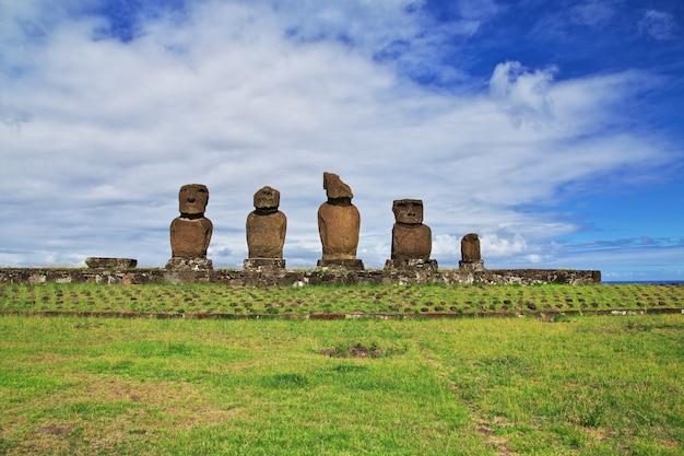 Het standbeeld moai in ahu tahai op paaseiland van chili