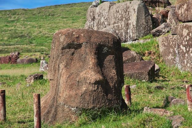 Het standbeeld moai in ahu vinapu, paaseiland, chili