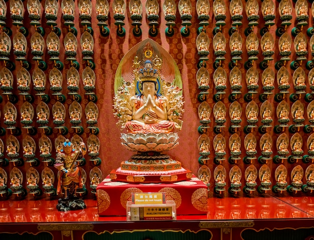Het standbeeld van boedha in de chinese tempel van het de tandoverblijfsel van boedha