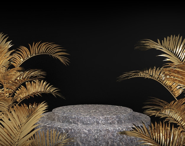Het steenpodium met gouden palm op zwarte 3d achtergrond geeft terug