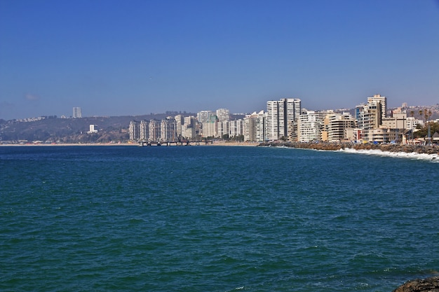 Het strand van vina del mar, chili