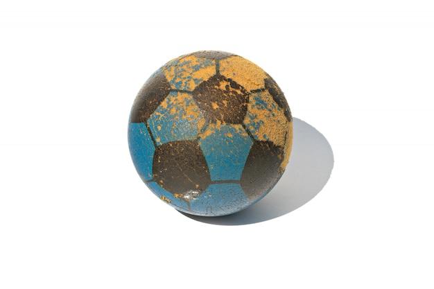 Het stuk speelgoed van de voetbalbal op wit wordt geïsoleerd dat