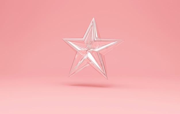 Het symbool van de ster van het glas op roze studioachtergrond