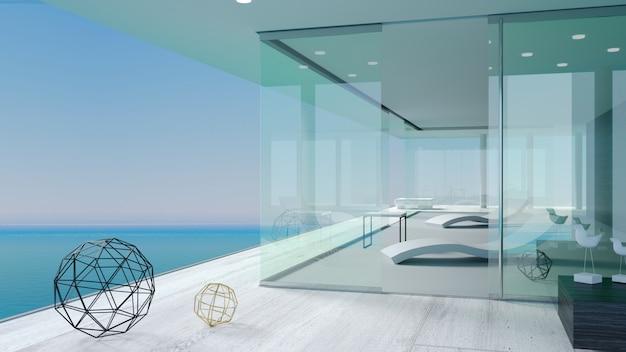 Het terras van de moderne zee villa's