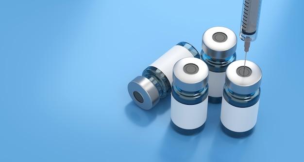 Het teruggeven van 3d vaccin medicijn fles griep vaccin anti-vaccinatie en covid-19