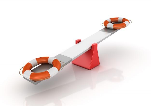 Het teruggeven van illustratie van het in evenwicht brengen van de reddingsgordel op een geschommel