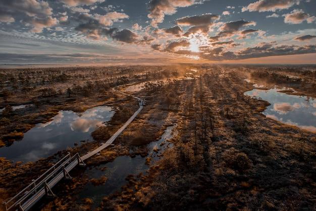 Het toenemen mist op een kleurrijke en kalme avond in een moeras van het nationale park van kemeri in letland