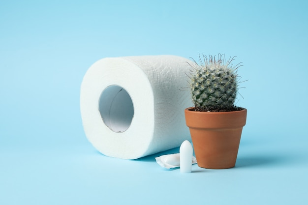 Het toiletpapier, de cactus en de kaarsen op blauw, sluiten omhoog
