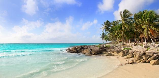 Het tropische panoramische strand van caraïbische tulum mexico
