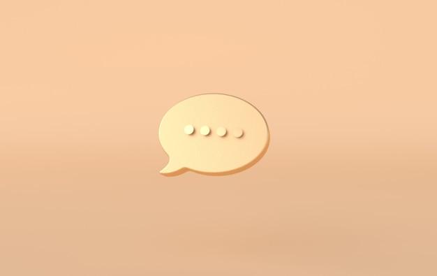 Het typen van een gouden chatballonpictogram op beige