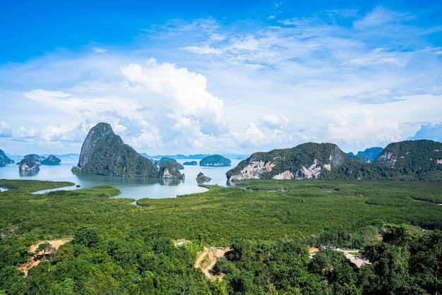 Het uitkijkpunt van samed nang chee in phang nga, thailand