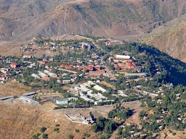 Het uitzicht op lalibela, ethiopië