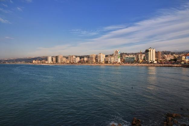 Het uitzicht op sidon (sayda), libanon
