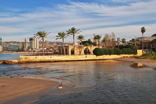 Het uitzicht van sidon sayda in libanon