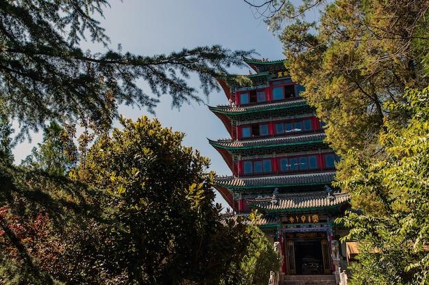 Het uitzicht vanaf pagoda (wangu tower) op lion hill in de oude binnenstad van lijiang,