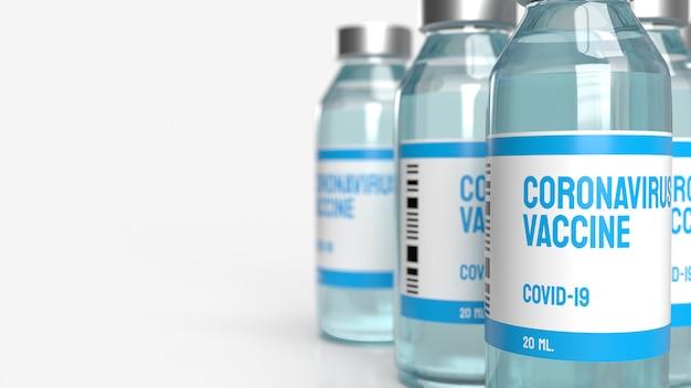 Het vaccin covid 19 voor 3d-rendering van medische inhoud.