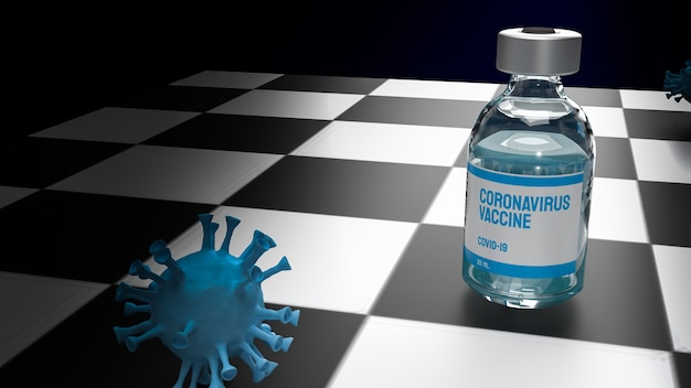 Het vaccin en virus op schaakbord voor medische of sci concept 3d-rendering