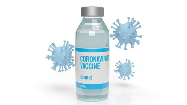 Het vaccincoronavirus voor 3d-rendering van medische inhoud.