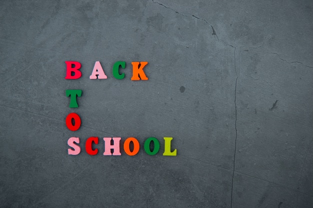 Het veelkleurige rug naar schoolwoord is gemaakt van houten letters op een grijze gepleisterde muur.