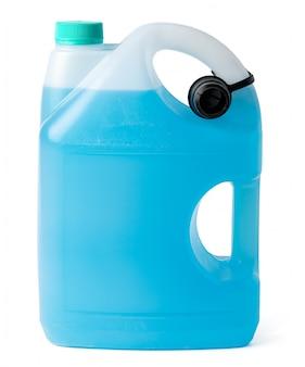 Het venster blauwe die reinigingsmachine van de winter op een witte achtergrond wordt geïsoleerd.