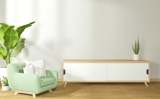 Het verfraaien van een kamer in japanse stijl bestaande uit een fauteuil en een kast op een kamer met betonnen muren. 3d-weergave