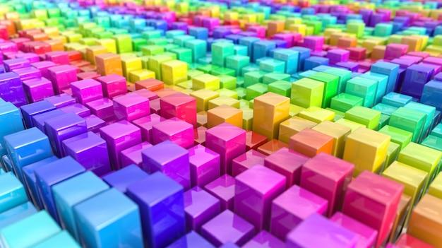 Het verzamelen van kleurrijke kubussen