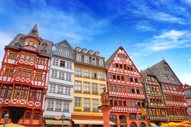 Het vierkant van frankfurt romerberg oude stad duitsland