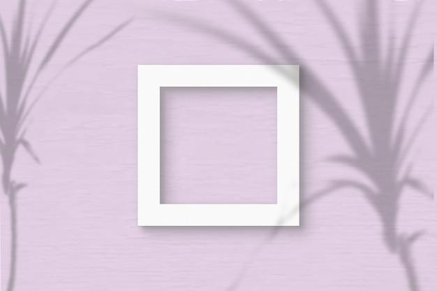 Het vierkante frame vel wit getextureerd papier op roze muur achtergrond. mockup-overlay met de plantschaduwen. natuurlijk licht werpt schaduwen van een tropische plant. plat lag, bovenaanzicht. horizontaal