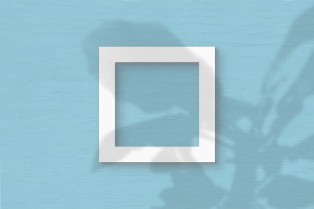 Het vierkante frame vel wit getextureerd papier op tblue groene muur achtergrond. mockup met een overlay van plantschaduwen. natuurlijk licht werpt schaduwen van de boom van geluk. platliggend, bovenaanzicht