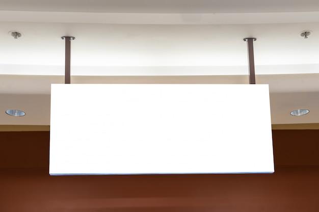 Het vierkante witte concept van het bedrijfsteken in een winkelcentrum