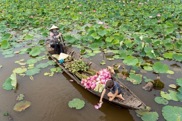 Het vietnamese jongen spelen met mamma die de traditionele houten boot roeien voor houdt de roze lotu