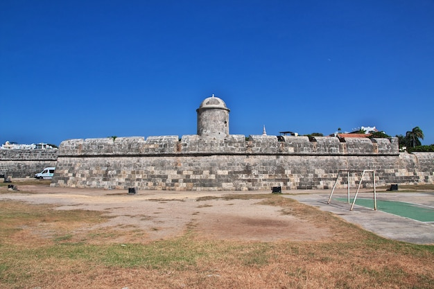 Het vintage fort in cartagena in colombia, zuid-amerika