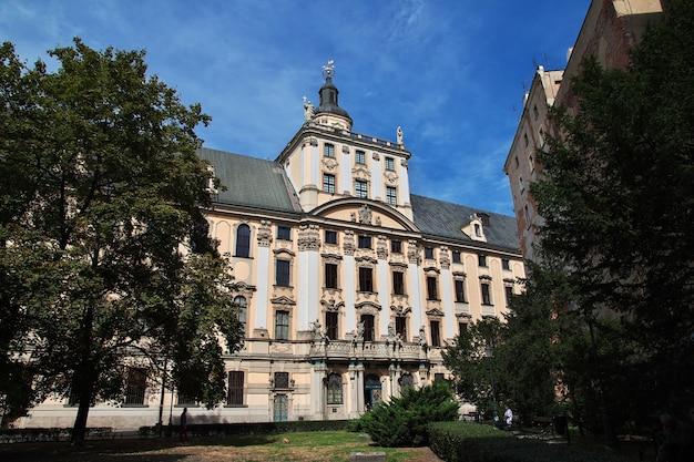 Het vintage gebouw in de stad wroclaw in polen