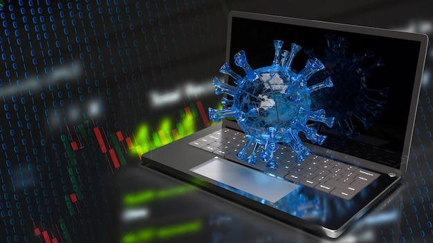 Het virus en de grafiek op notebook voor zaken in 3d-rendering van het uitbraakconcept