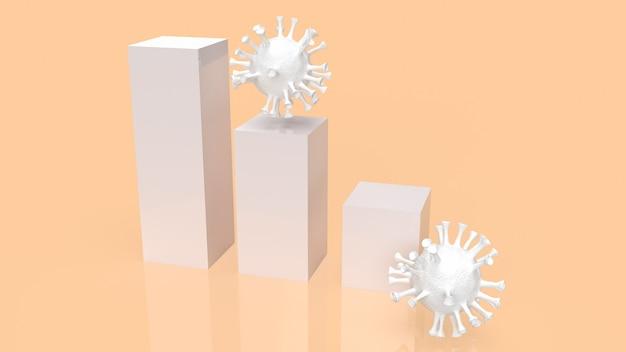 Het virus en de grafiek voor het 3d-rendering van het coronavirus