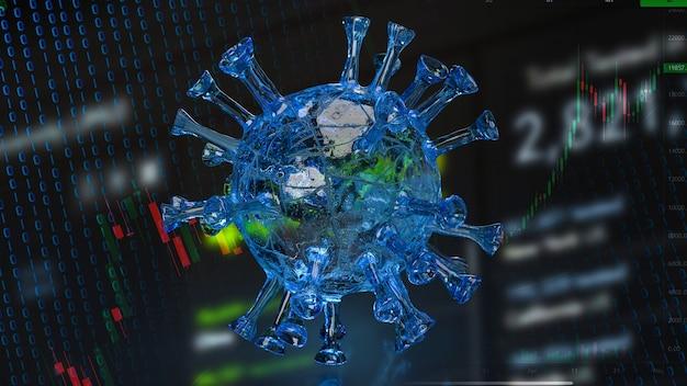 Het virus en de grafiek voor zaken in 3d-rendering van het uitbraakconcept