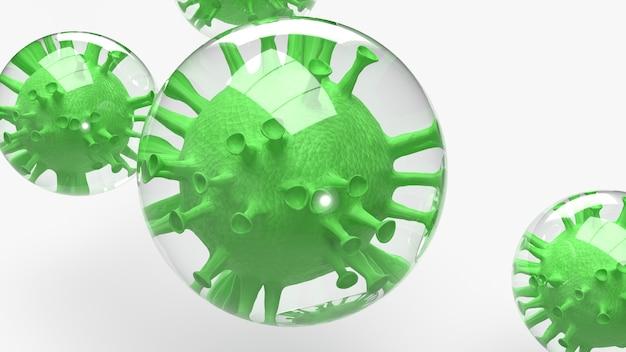 Het virus in zeepbel voor 3d-rendering van de uitbraak.