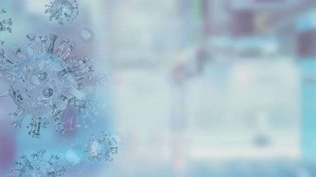 Het virus op blauwe achtergrond voor medische of sci concept 3d-rendering