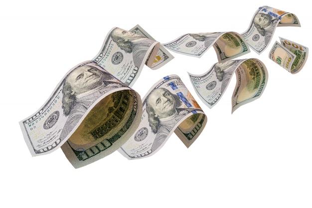 Het vliegen van amerikaanse dollarbankbiljet op wit