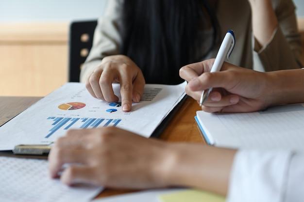 Het vrouwelijke team van kantoorpersoneel vat het budget voor de jaarlijkse executive presentatie samen.