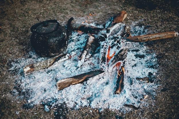 Het vuur sterft in de ochtend. de toeristen komen naar het bos.